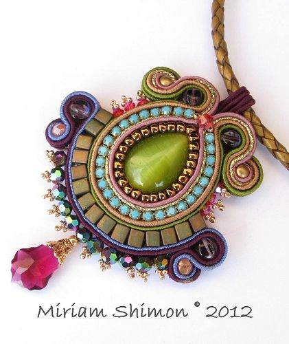 Purple and Green Soutache pendant    I whis I could make my Christmas Tree covered in these!