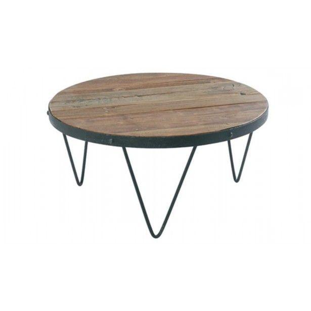 Élégante, cette table basse en bois Synergie! Table de salon ronde en bois et métal et meuble industriel pas cher. Livraison gratuite chez Pierimport.