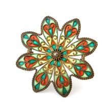 JOHAN G KJAERLAND Plique a jour Enamel Sterling Brooch Antique 1900s Flower Pin Scandinavian Jewelry