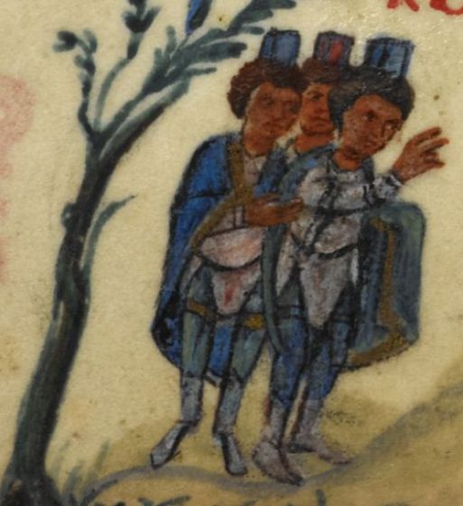 The Bristol Psalter 223r: Three Chaldeans with Israelite captives. Greece (11th Century/1000s) 105 x 85 mm (text space: 70 x 60 mm). Psalter with 14 odes and the apocryphal Psalm 151. [