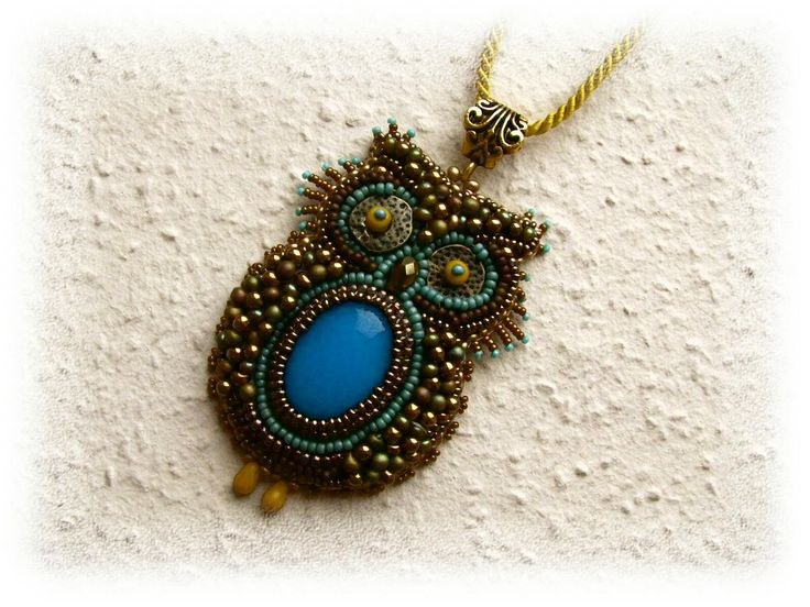 Bead Embroidery - Bead Embroidered Necklace - Owl - OOAK - Turquoise, bronze, green, mustard.