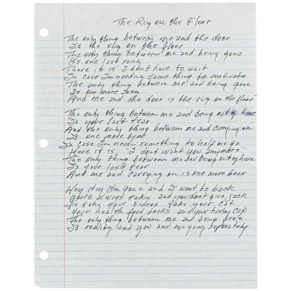 """Handwritten Lyrics By Johnny Cash To The Song """"The Rug On"""