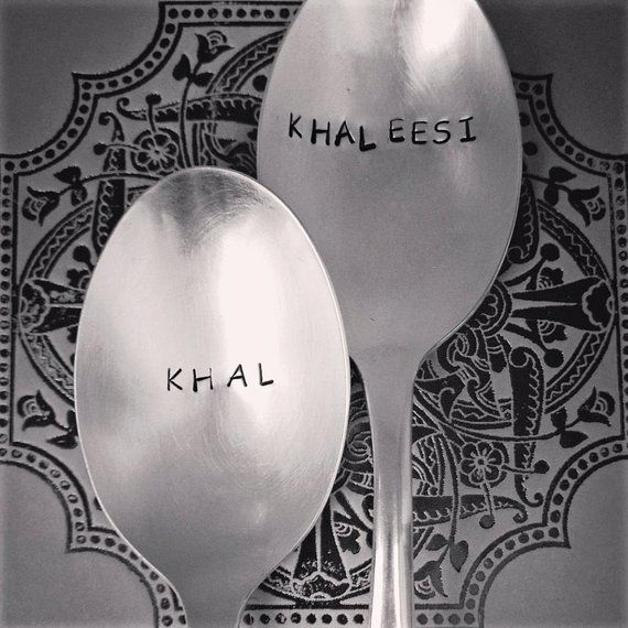 Khal & Khaleesi | Stainless Steel Stamped Spoon Set | Game of Thrones Gifts | Unique Engagement and