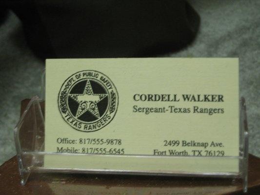 Walker Quot Texas Ranger S Quot Business Card Btw This Address