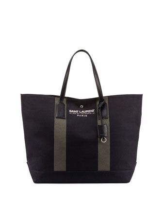 Striped Beach Shopper Tote Bag, Black/Khaki by Saint Laurent at Neiman Marcus.
