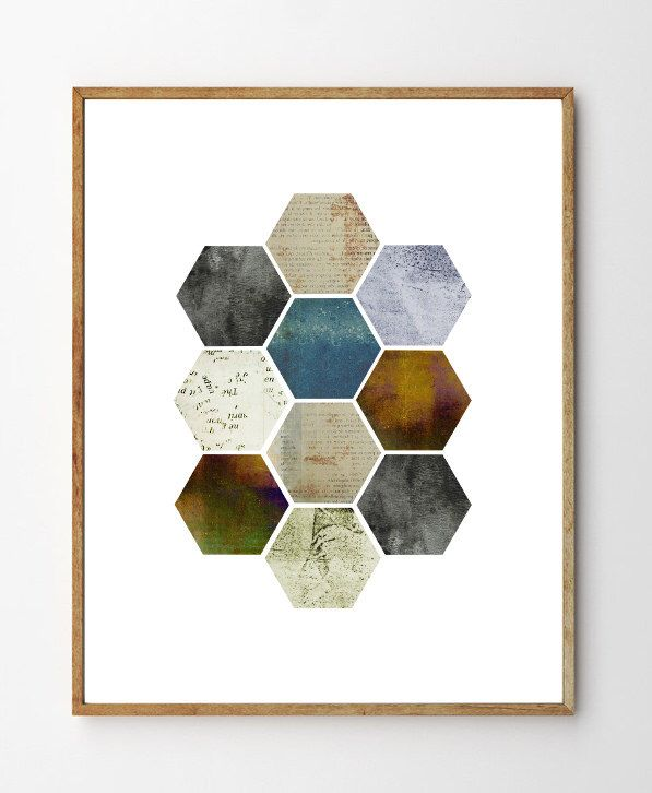 Honeycomb - Geometric Wall Art, Scandinavian Design, Abstract Art, Minimalist Art, Mixed Media, Vintage, Geometry, Home Decor, Nature Art door StellaireStudio op Etsy https://www.etsy.com/nl/listing/235313487/honeycomb-geometric-wall-art
