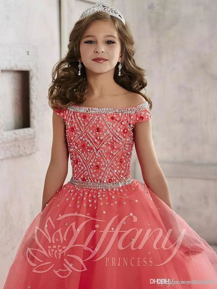 Little Girls Pageant Dresses wear 2016 New Off Shoulder Crystal Beads Coral Tulle Formal Party Dress for teen Kids Flowers Girls Gowns