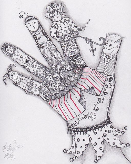 Le Cirque by Girasole Giallo, via Flickr (Can't decide if this is a zentangle or not but...)