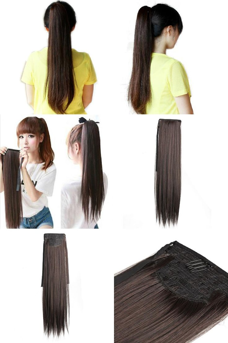 [Visit to Buy] Long Lady Girl Straight Ponytail Wigs Hair Hairpiece Extension Dark Brown #Advertisement