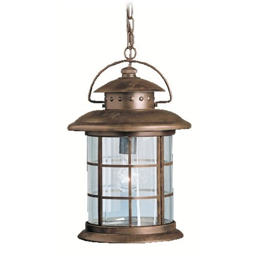 Kichler Outdoor Hanging Light with Clear Glass in Rustic Finish | 9870RST | Destination Lighting