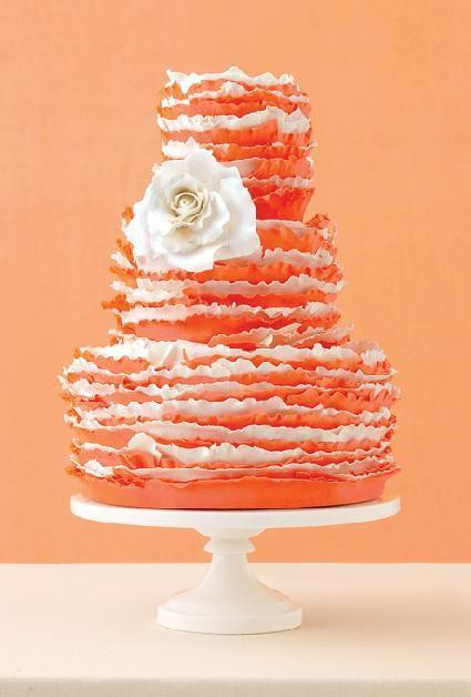 Tangerine ruffle wedding cake by Maggie Austin: Cakes Ideas, Orange Wedding, Wedding Colors Schemes, Weddings, Ruffles Cakes, Bright Orange, Receptions Ideas, White Wedding Cakes, White Ruffles