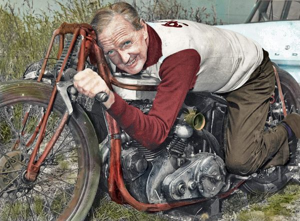 Photo of Burt Monroe tinted and restored by CMS...what a great story....The Worlds Fastest Indian....great movie too!