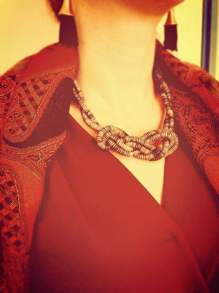 MY FABRIC OF LIFE| Lyto's Loom, 100% wool in B&W #myfabricoflife #fabrics #fabric #necklace #handmadewithlove #textiles #wool