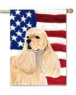 American Cocker Spaniel USA Patriotic Flag Large Canvas House Flag 28x40 Inches by CTI. $39.99. House flag is made from a 100% polyester heavy weight canvas material. Not your typical house flag that you might find from a mass merchant.  This flag is much heavier than most flags currently being sold by other manufacturers. This flag is fade resistant and weather proof. The flag measures approximately 28 inches x 40 inches (wooden flag pole, hanging bracket or yard stand ...