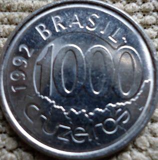 moedas brasileiras - 1000 cruzeiros 1992 - verso Acará