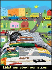 Taking a trip? We recommend a map. Taking a nap? We recommend this bedding set. The quilt features colorful transportation vignettes framed by a neutral, grey roadway pattern. Travel Arrangements bedding-transportation wall mural