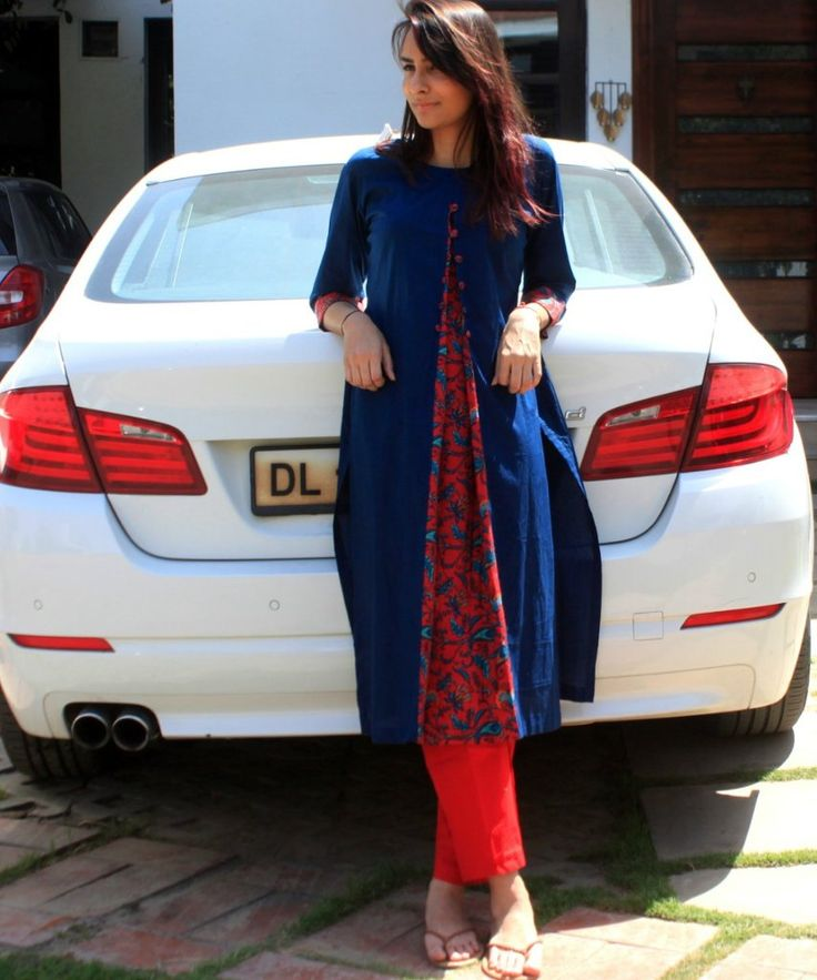 Blue Front Printed Pleat Kurti with Buttons and Straight Pants