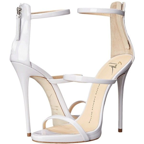 Giuseppe Zanotti High Heel Back-Zip Three-Strap Sandal Women's Shoes (£595) ❤ liked on Polyvore featuring shoes, sandals, heels, high heels, white, white platform sandals, white leather sandals, strappy sandals, heeled sandals and strappy platform sandals
