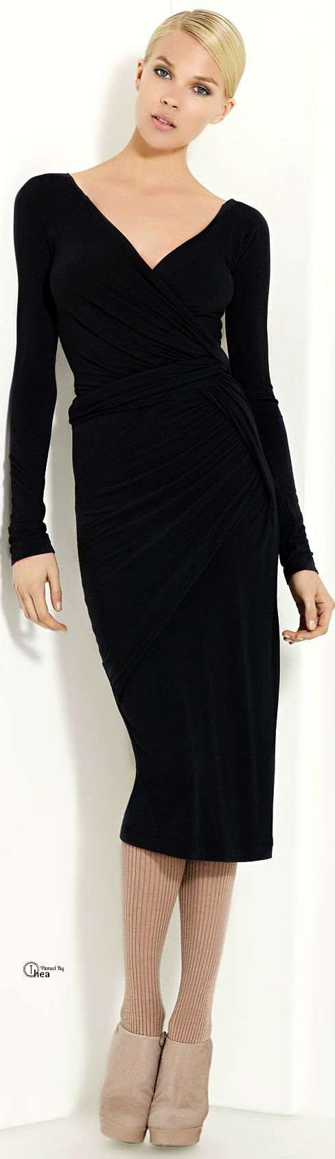 I'm afraid I don't like the shoes or tights but the dress is delicious  Donna Karan ● Draped Jersey Dress