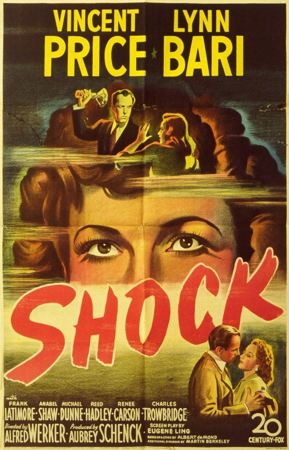 """Movie poster, """"Shock"""", 1946, starring Vincent Price"""