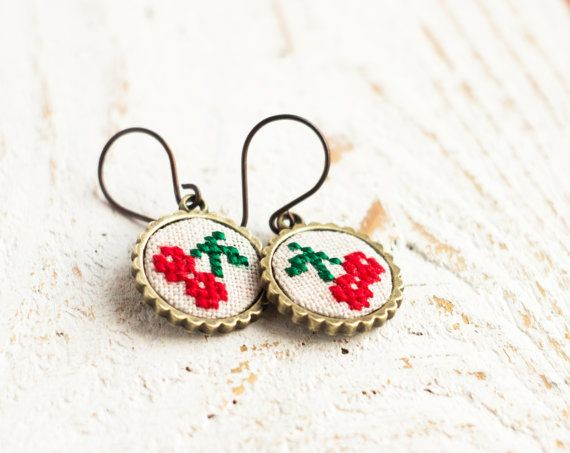 Cherry earrings - embroidered cherries - garden party earrings - e015