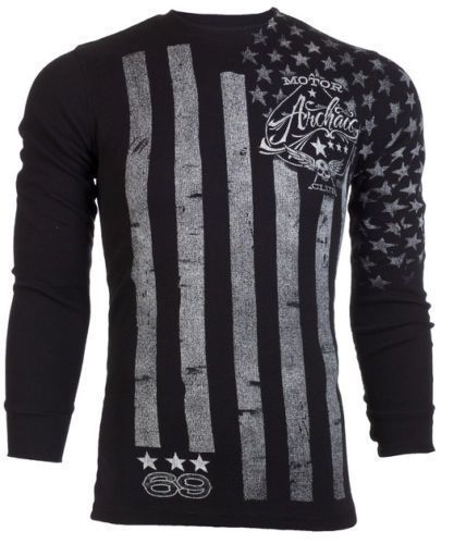 Archaic AFFLICTION Mens THERMAL T-Shirt NATION American Customs Biker M-3XL $58 #Affliction #GraphicTee