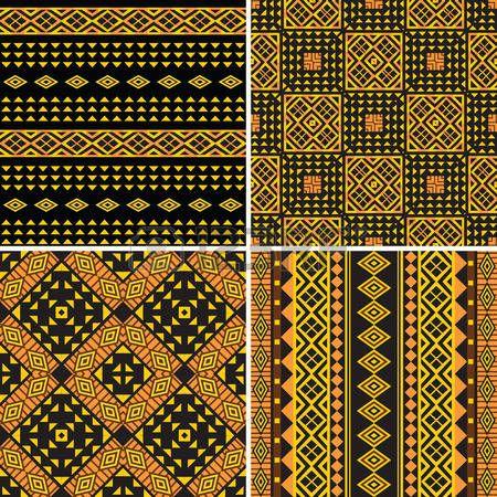 Set van tribal sier naadloze patronen Stockfoto