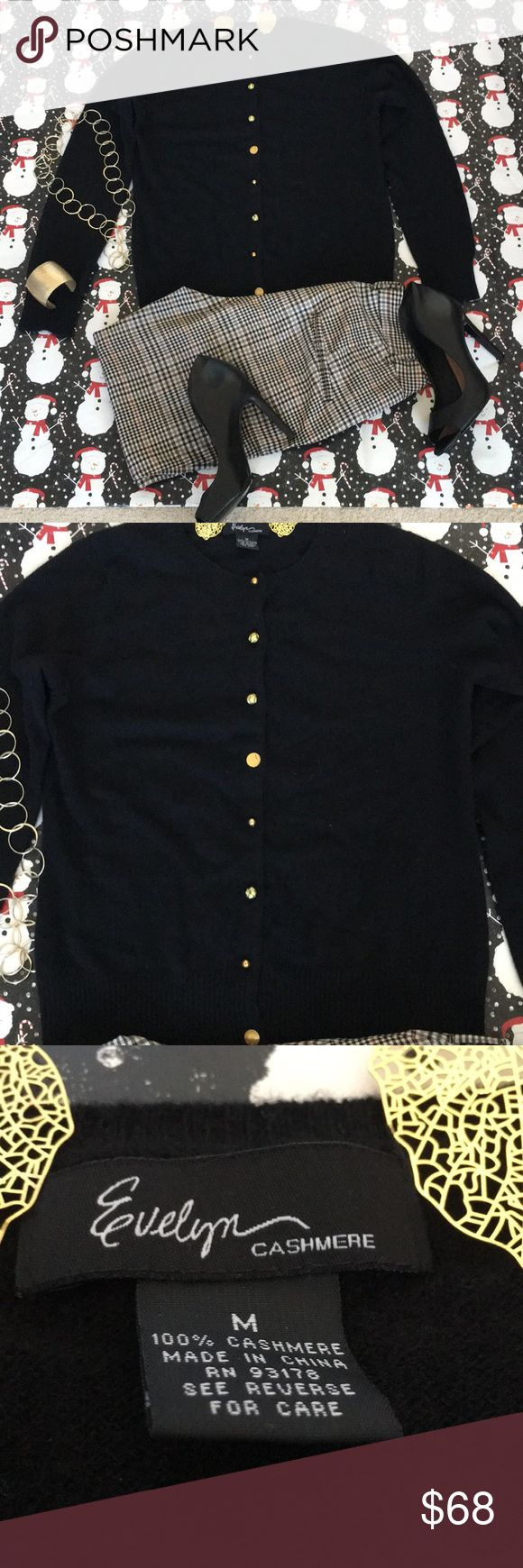 Women's Cashmere Sweater Very nice NWOT black cashmere sweater. The buttons are gold and different in sync all the way down (see pic for ex.). Adorable holiday gift 🎁. Accepting reasonable offers. Sweaters Cardigans
