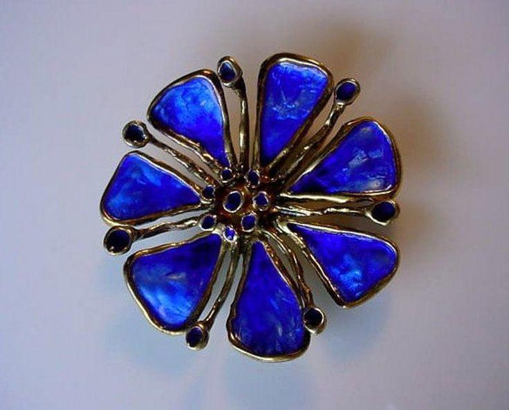 STERLING DAVID ANDERSEN BLUE ENAMEL FLOWER BROOCH $225