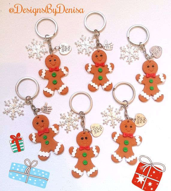 Adorable Gingerbread Men Keyrings Bag Charms by DesignsByDenisa