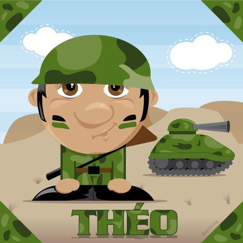 Toile imprimée pour enfant à personnaliser, petit soldat et son tank