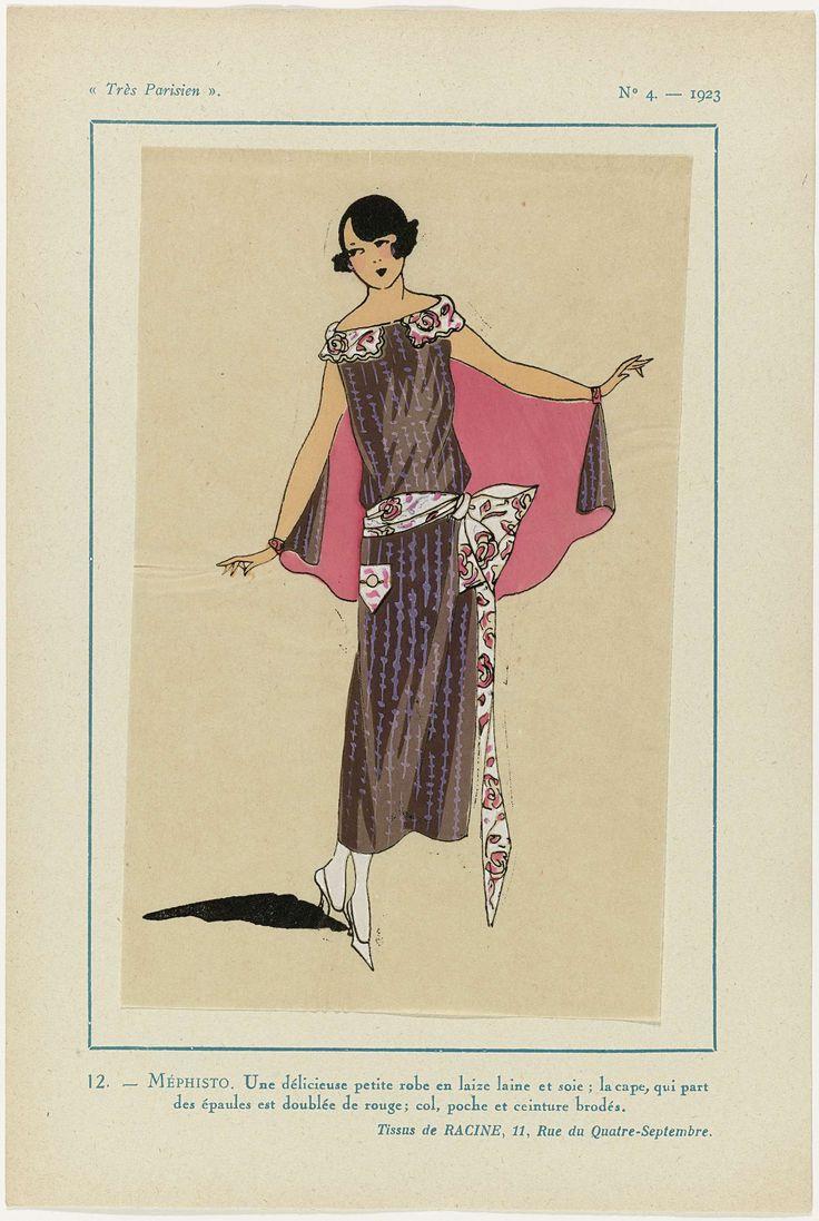 Anonymous | Très Parisien, 1923, No. 4: MÉPHISTO, Anonymous, V. Racine, G-P. Joumard, 1923 | Jurk van stroken wol en zijde; de cape begint bij de schouders en is gevoerd met rood; de kraag, zak en ceintuur zijn geborduurd. Stoffen van Racine. Prent uit het modetijdschrift Très Parisien (1920-1936).