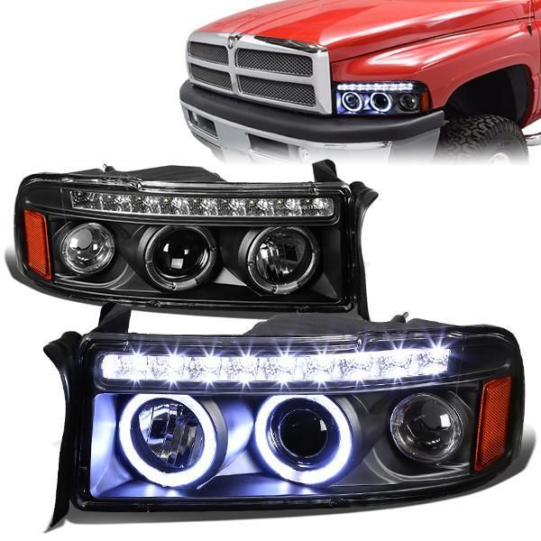 94 02 Dodge Ram 1500 2500 3500 Led Drl Halo Ring Projector Headlights Black Dodge Ram Projector Headlights Dodge Ram Diesel