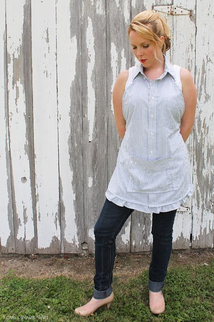 Learn how to make this sweet apron from a men's dress shirt.