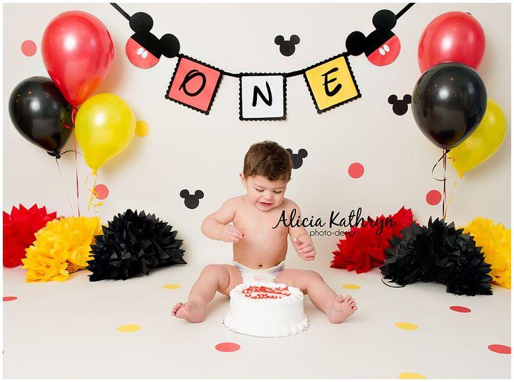 Alicia Kathryn Photo-Design: NH Newborn Photographer www.AliciaKathrynPhoto-Design.com Mickey Mouse theme cake smash, 1 year old birthday