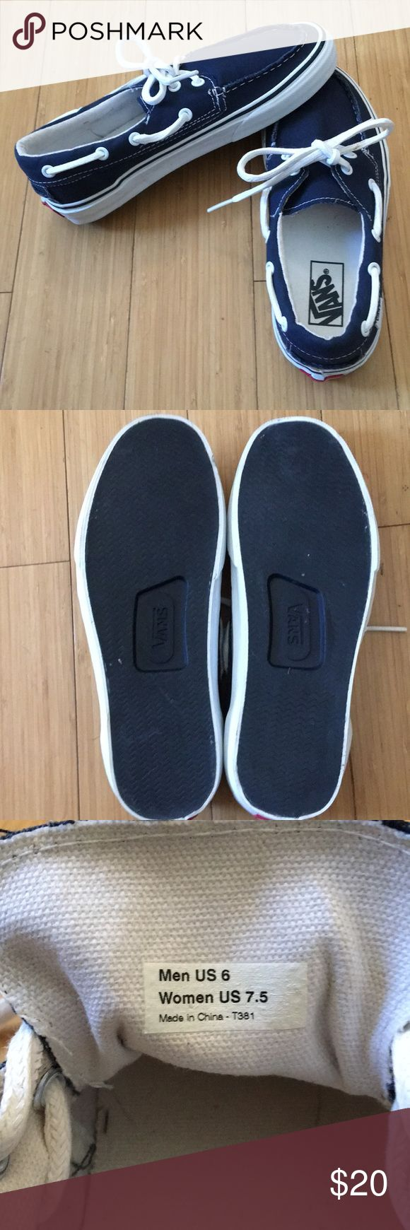 Vans boat shoes Navy with white details Never worn Men's 6/Women's 7.5 Vans Shoes Sneakers