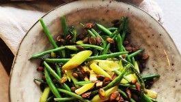 Stegte bønner med soya græskarkerner