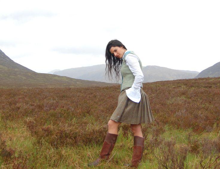 lady wearing kilt.  Handmade in the Scottish Highlands. www.lornagillies.com Atmospheric, haunting, dreamer inspiration. Rhu Kilt & Shiel Waistcoat. Outlander