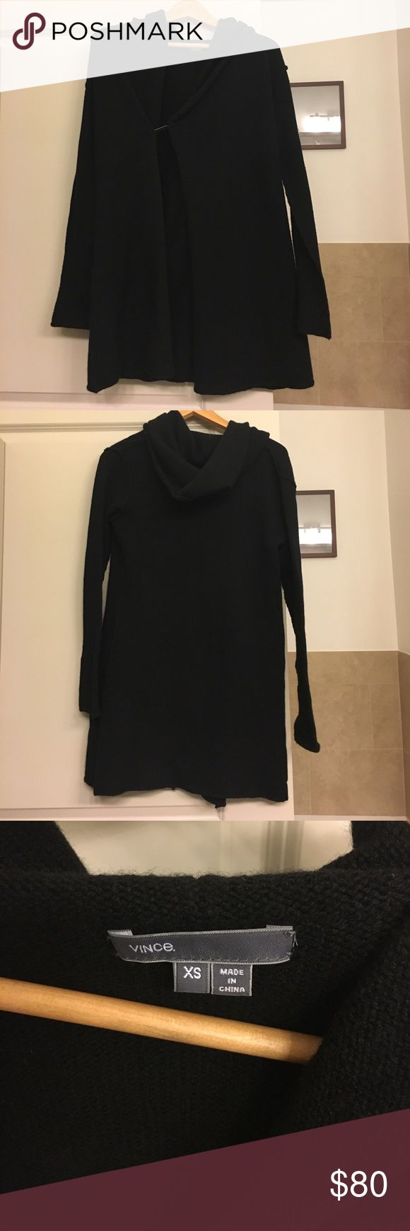 "🔥SALE🔥Vince ""Sophie"" long hooded cardigan Vince cardigan with hoodie and functional safety pin design. Medium weight. Worn less than a handful of times. Great condition, no flaws. I'm letting this piece go because I have a SKINGRAFT hoodie that I love. This was a very expensive Vince sweater that I hardly touched. Length 30"". Shoulder to shoulder seam across the back is 15"". Vince Sweaters Cardigans"