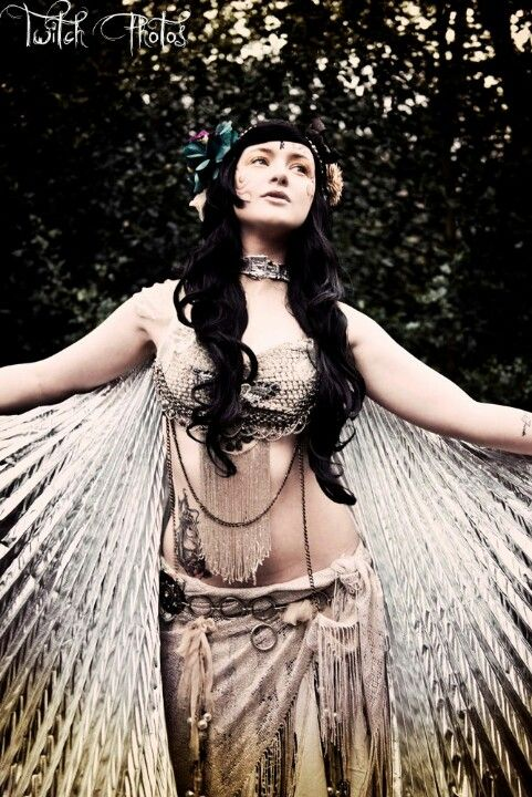 Tribal fusion belly dancer with Isis wings photography by twitch photos model is amber skyline