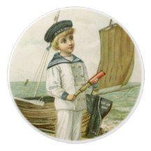 Vintage Sailor Boy 2 Ceramic Knob