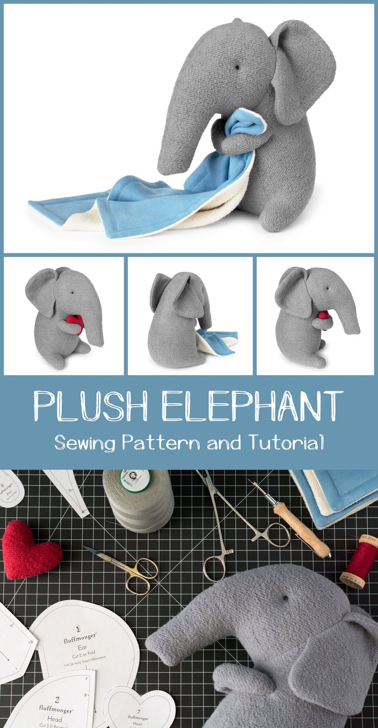 Plush Elephant Sewing Pattern and Tutorial by Fluffmonger — Stuffed elephant sewing pattern, DIY Elephant, Elephant Plushie, Elephant Soft Toy, Elephant Stuffed animal tutorial