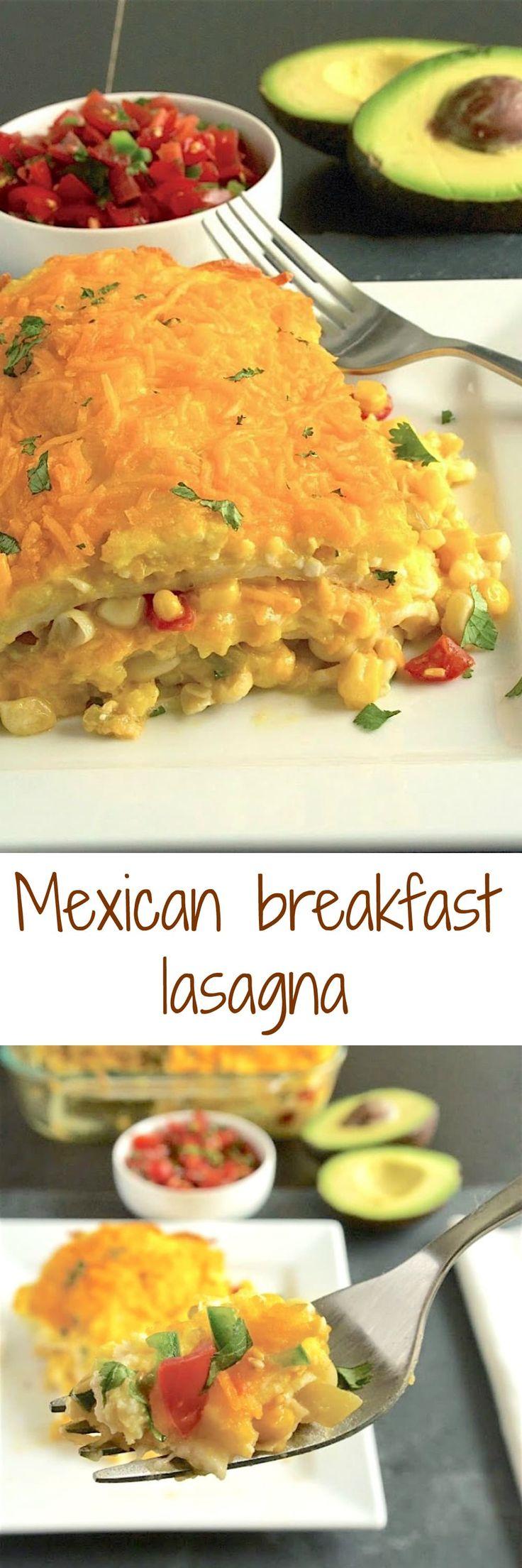 ... lasagna. Layers of scrambled egg, corn salsa, tortillas and cheese