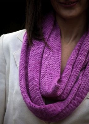 BeSweet Bamboo Infinity Scarf, simple free pattern knit in an incredibly soft yarn with spectacular drape. #knitting