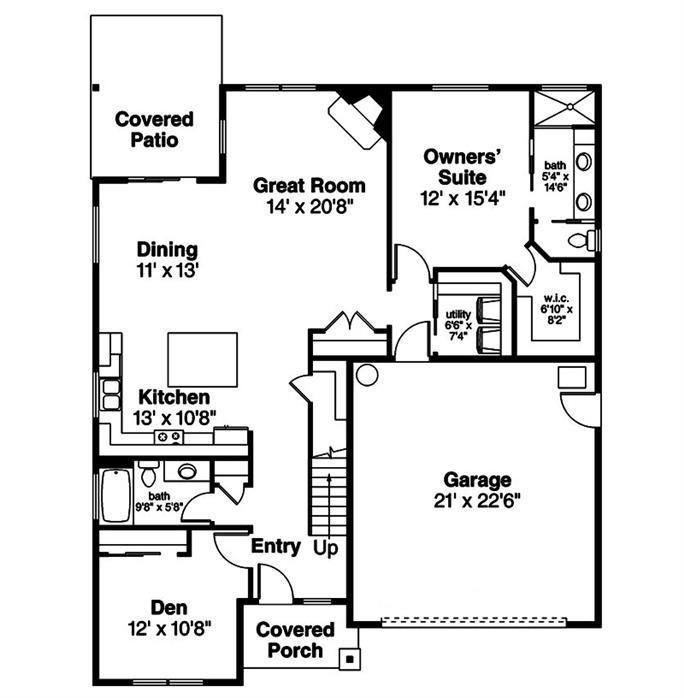 108 1855 Floor Plan Main Level House Plans House Cottage House Plans