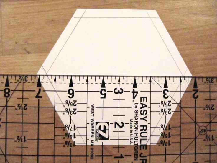 Sew Many Ways...: Machine Sewing Hexagons...Half Hexies That Is.  Make your own half hexie template