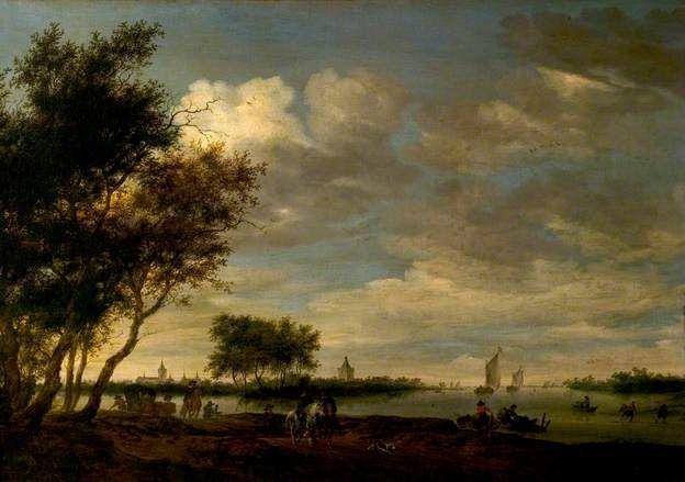 Salomon van Ruysdael - Rivier scène met in de verte uitzicht op Vianen