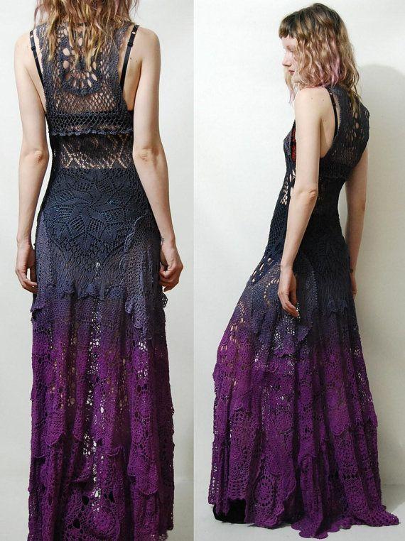 Crochet Dress VINTAGE LACE Purple Black OMBRE Long by cruxandcrow