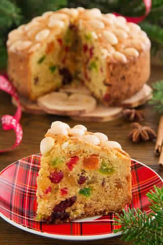 Traditional Scottish Dundee Cake, a fruit cake that's usually topped with concentric circles of almonds.