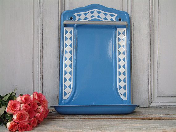 Antique french blue enamel utensil rack with white by Chanteduc